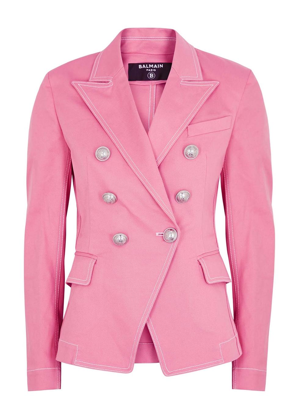 Pink double-breasted denim blazer