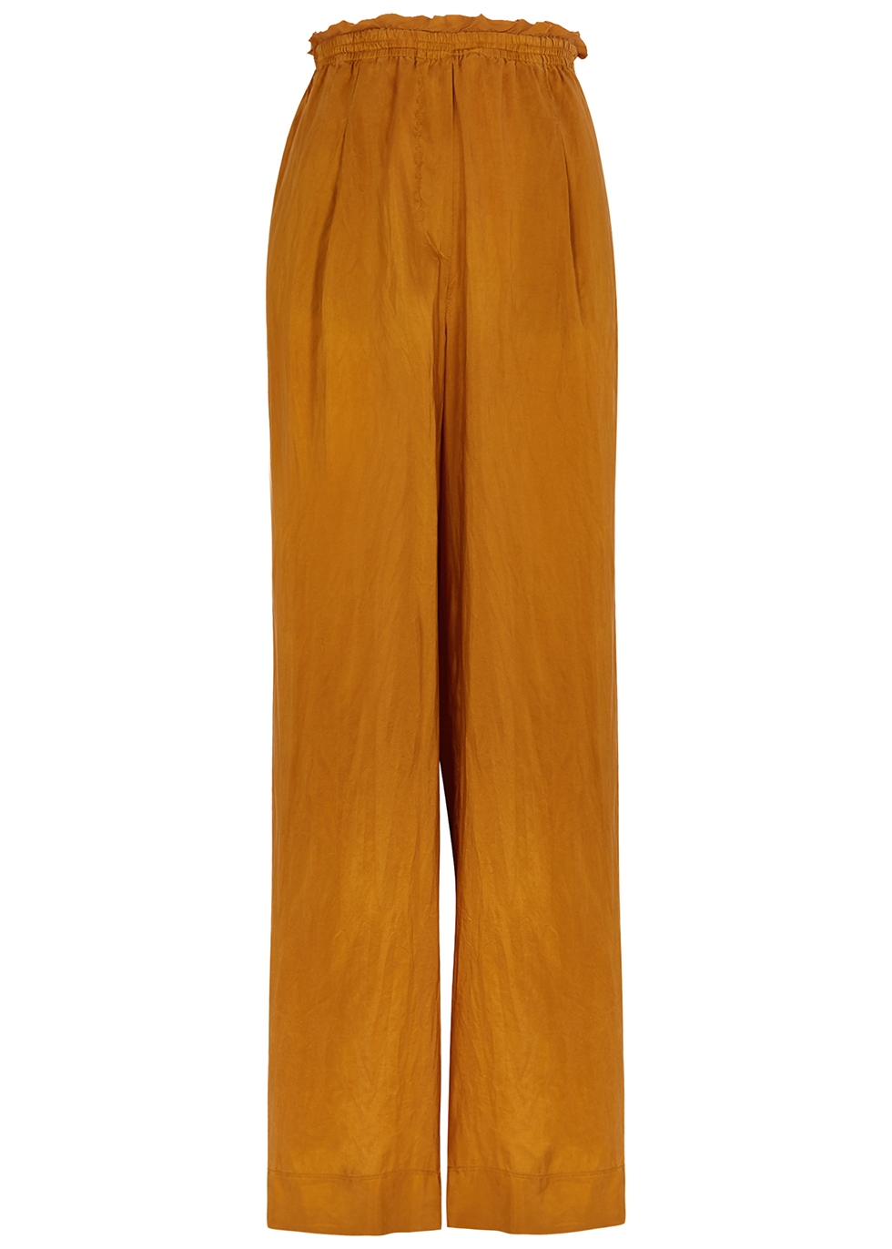 Bronze wide-leg silk trousers