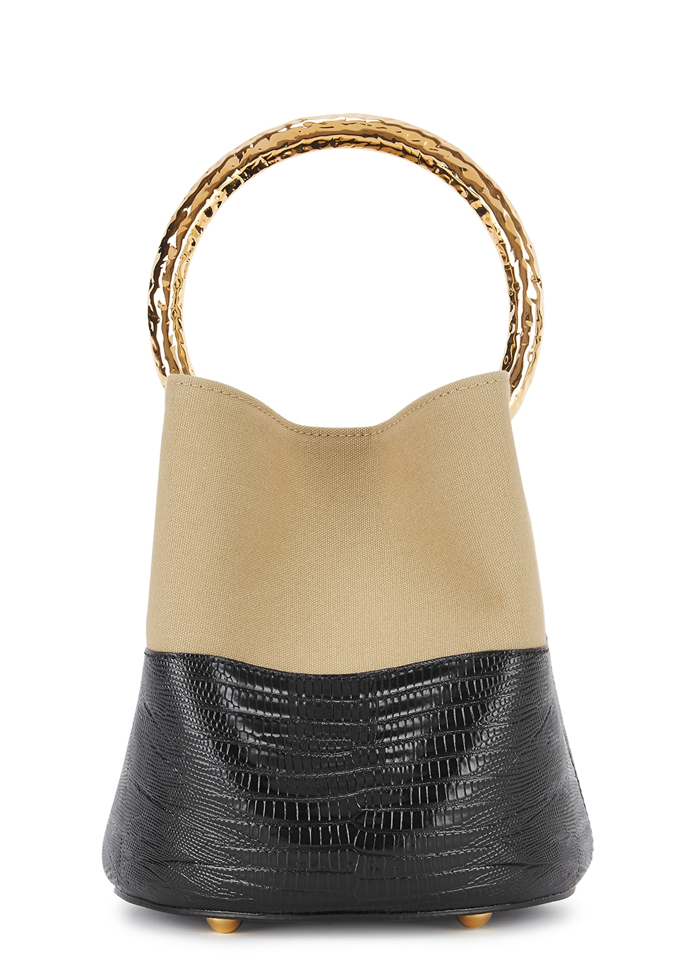 Pannier leather and canvas bucket bag