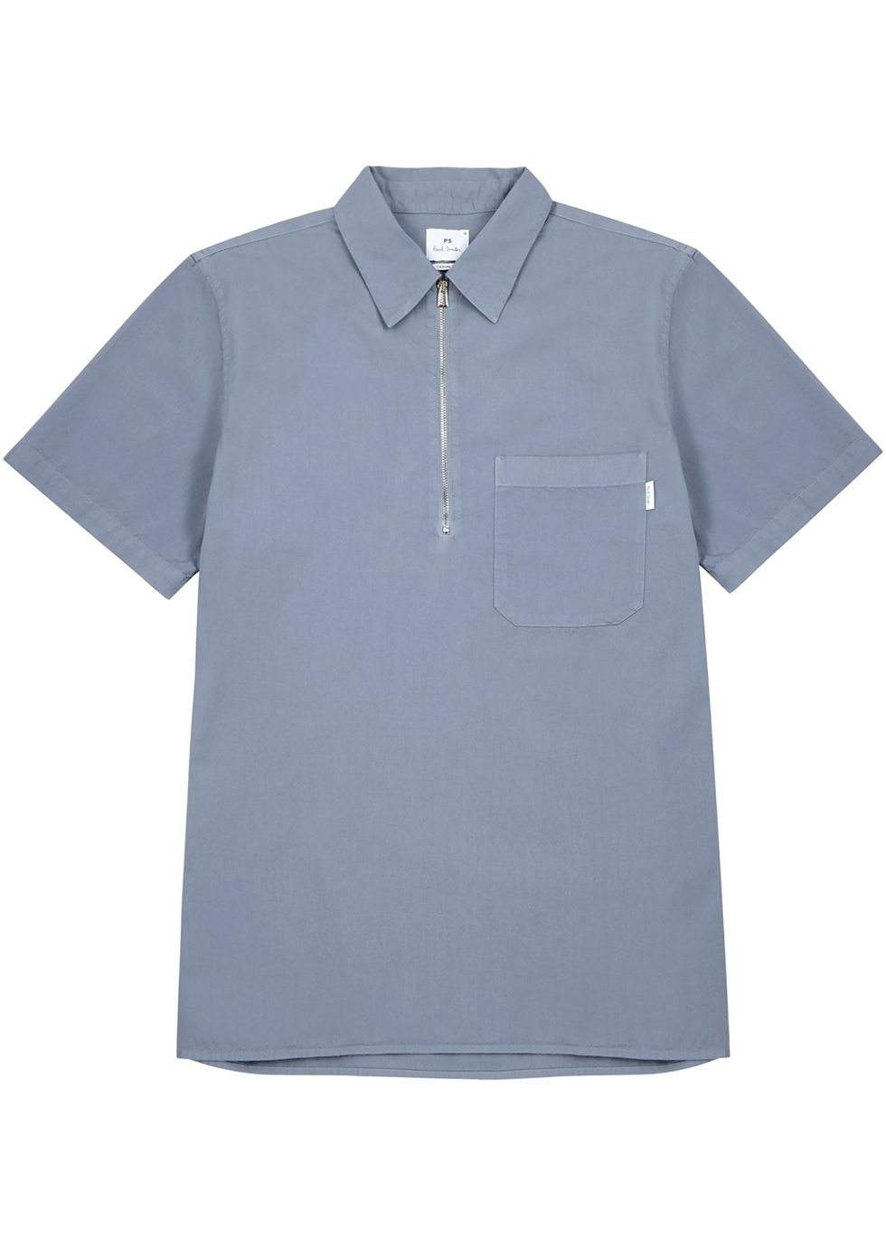 Light blue half-zip cotton shirt