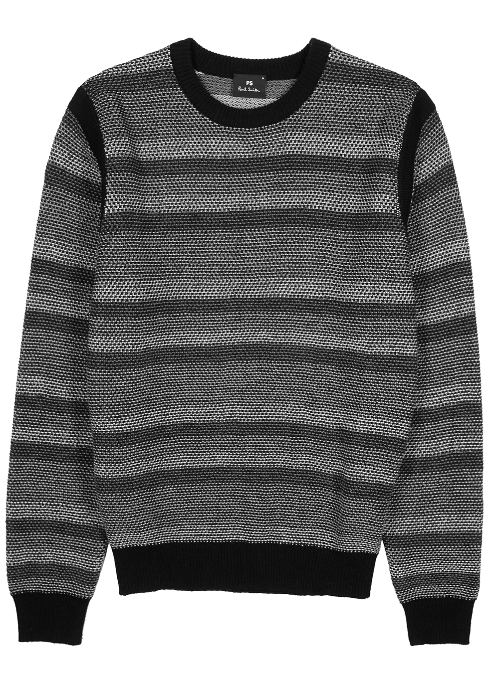 Grey striped knitted wool-blend jumper