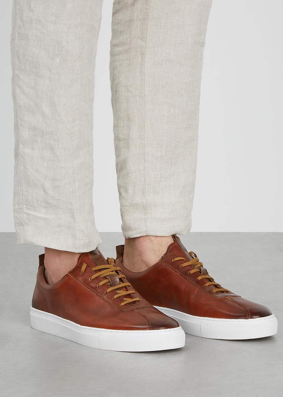 brown leather sneakers - Harvey Nichols