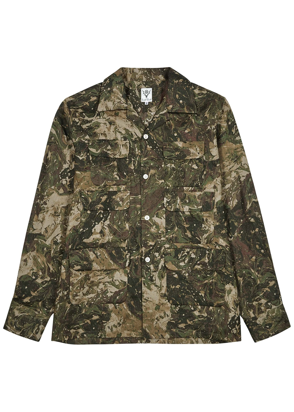 Camouflage-print linen shirt