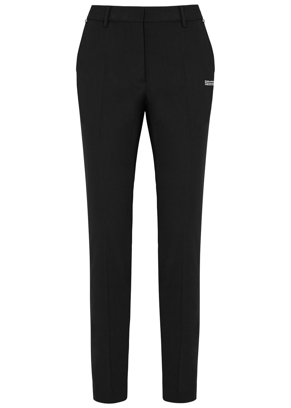 Black slim-leg twill trousers