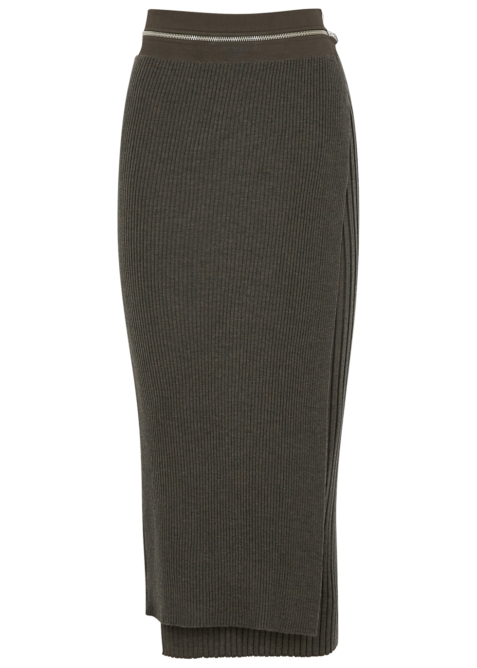 Army green layered wool-blend midi skirt