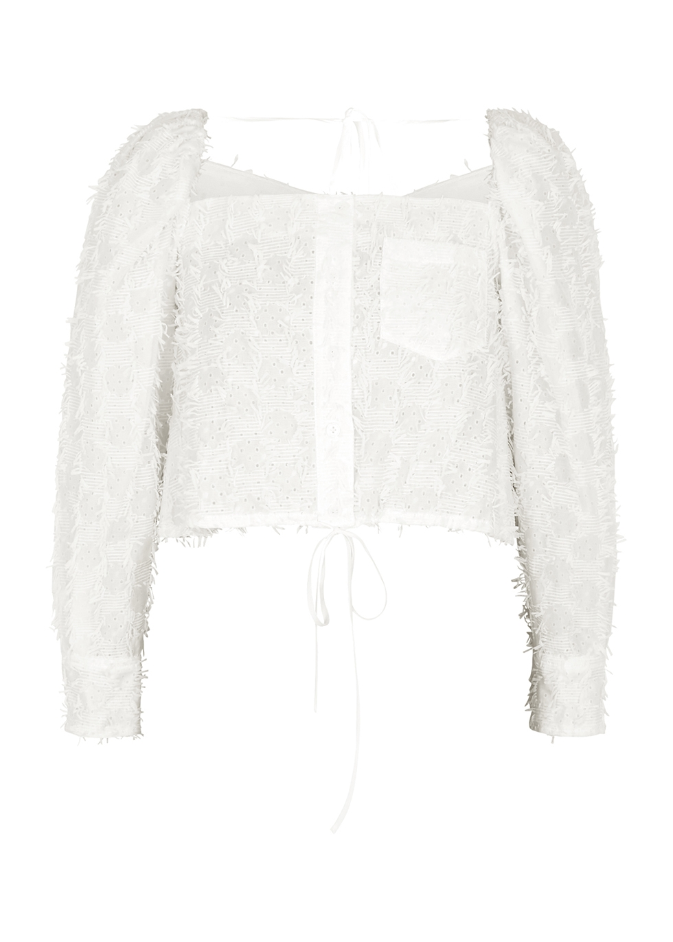 White fringed broderie anglaise top