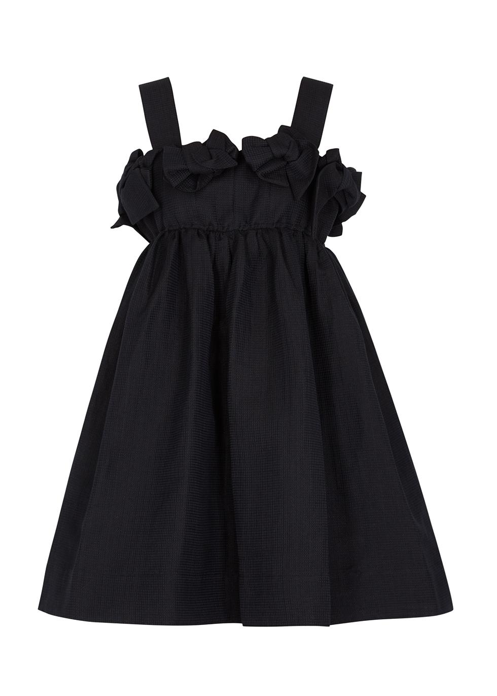 Black bow-embellished linen-blend mini dress