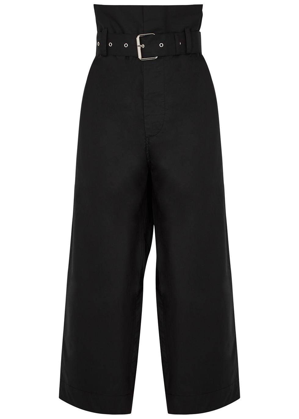 Black wide-leg cropped cotton trousers