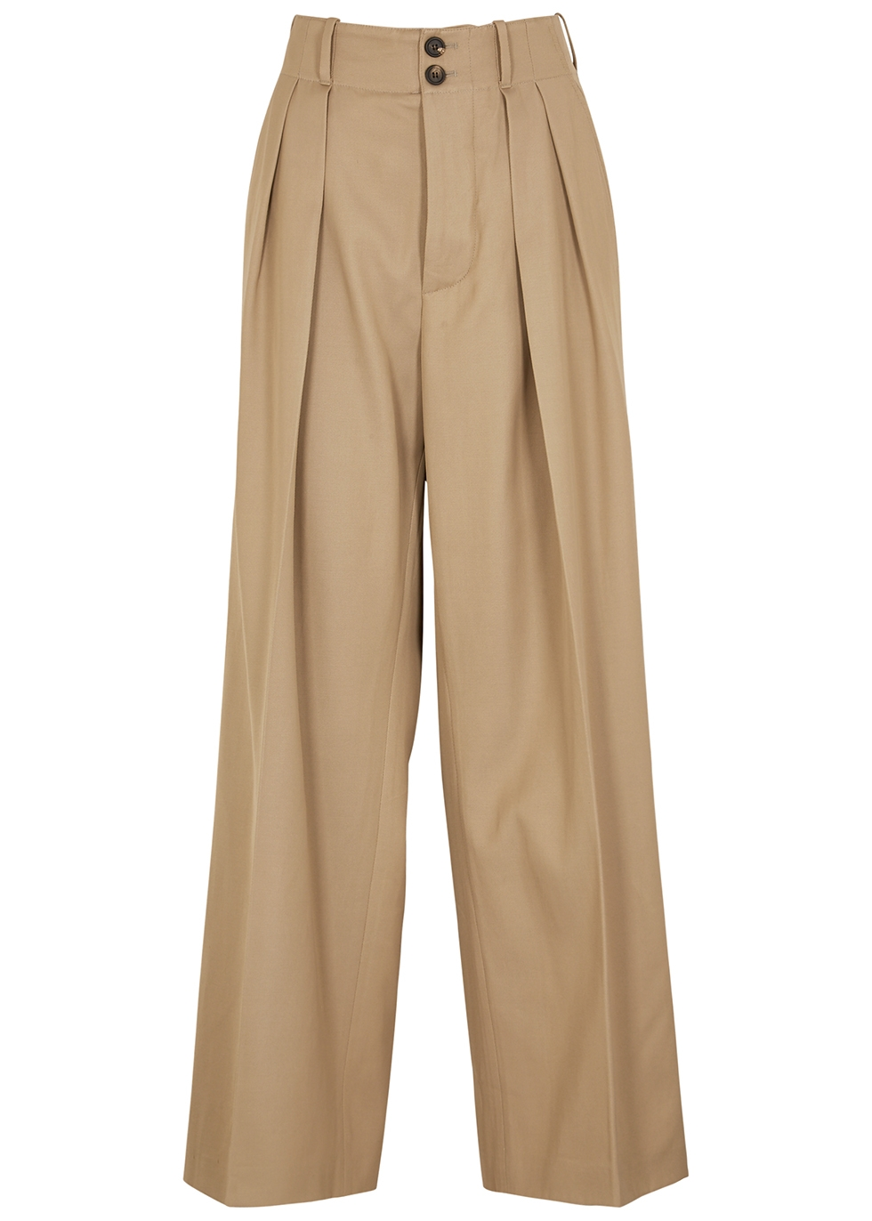 Camel wide-leg twill trousers
