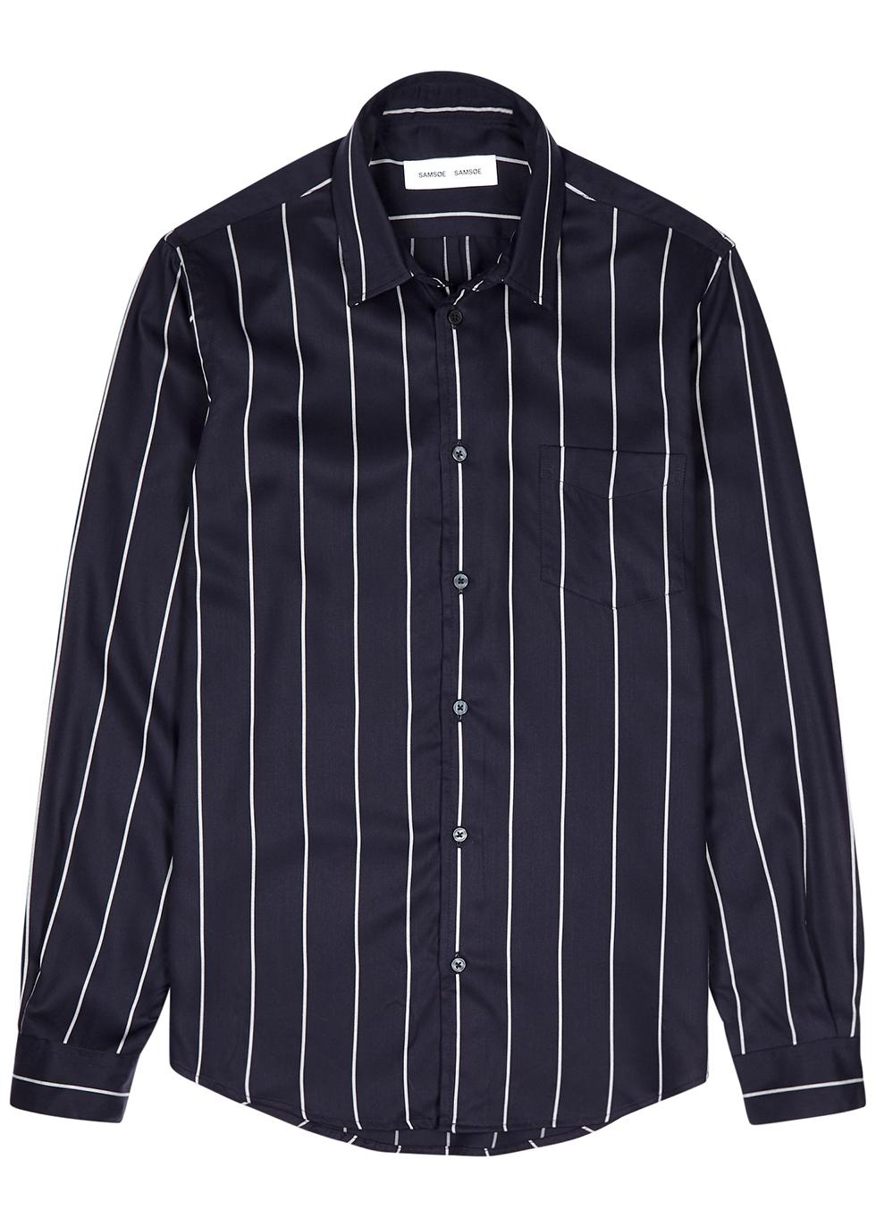 Navy striped woven shirt