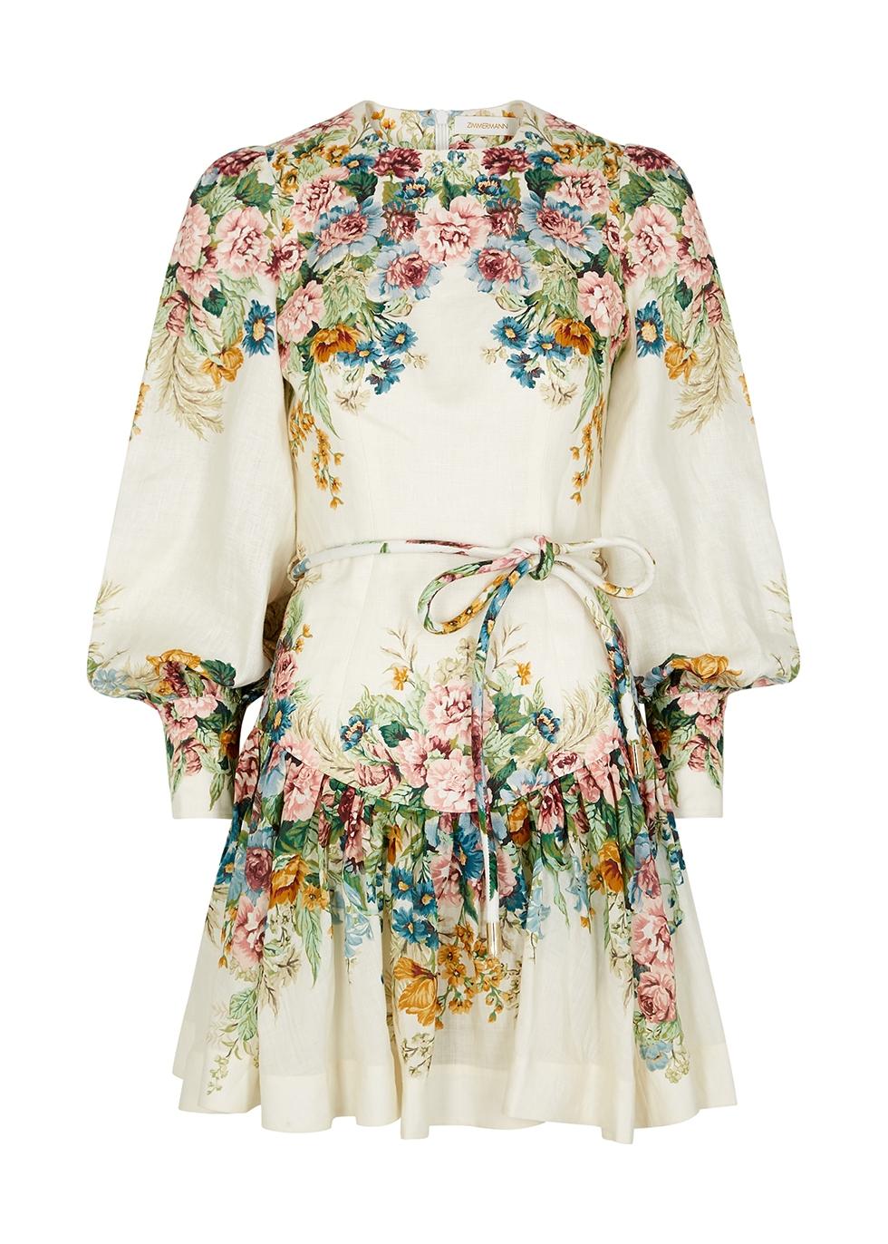 Zimmermann Wavelength floral print linen mini dress Harvey