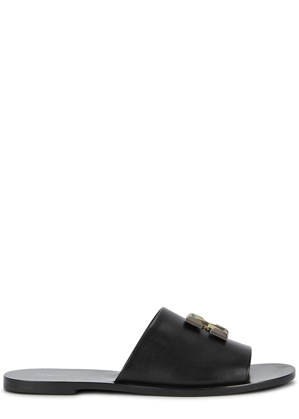 Arrows black leather sliders