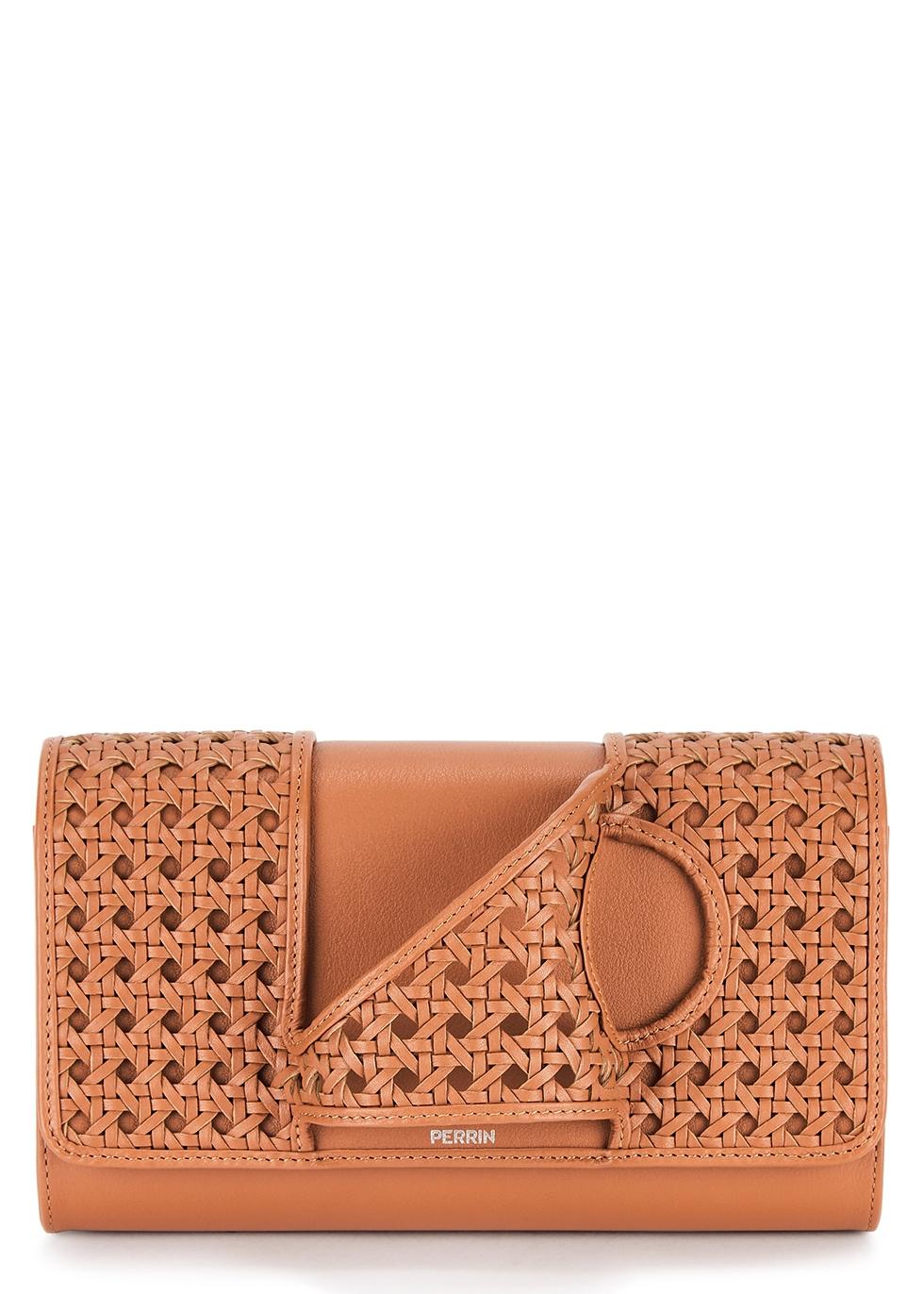 L'Asymétrique brown woven leather clutch