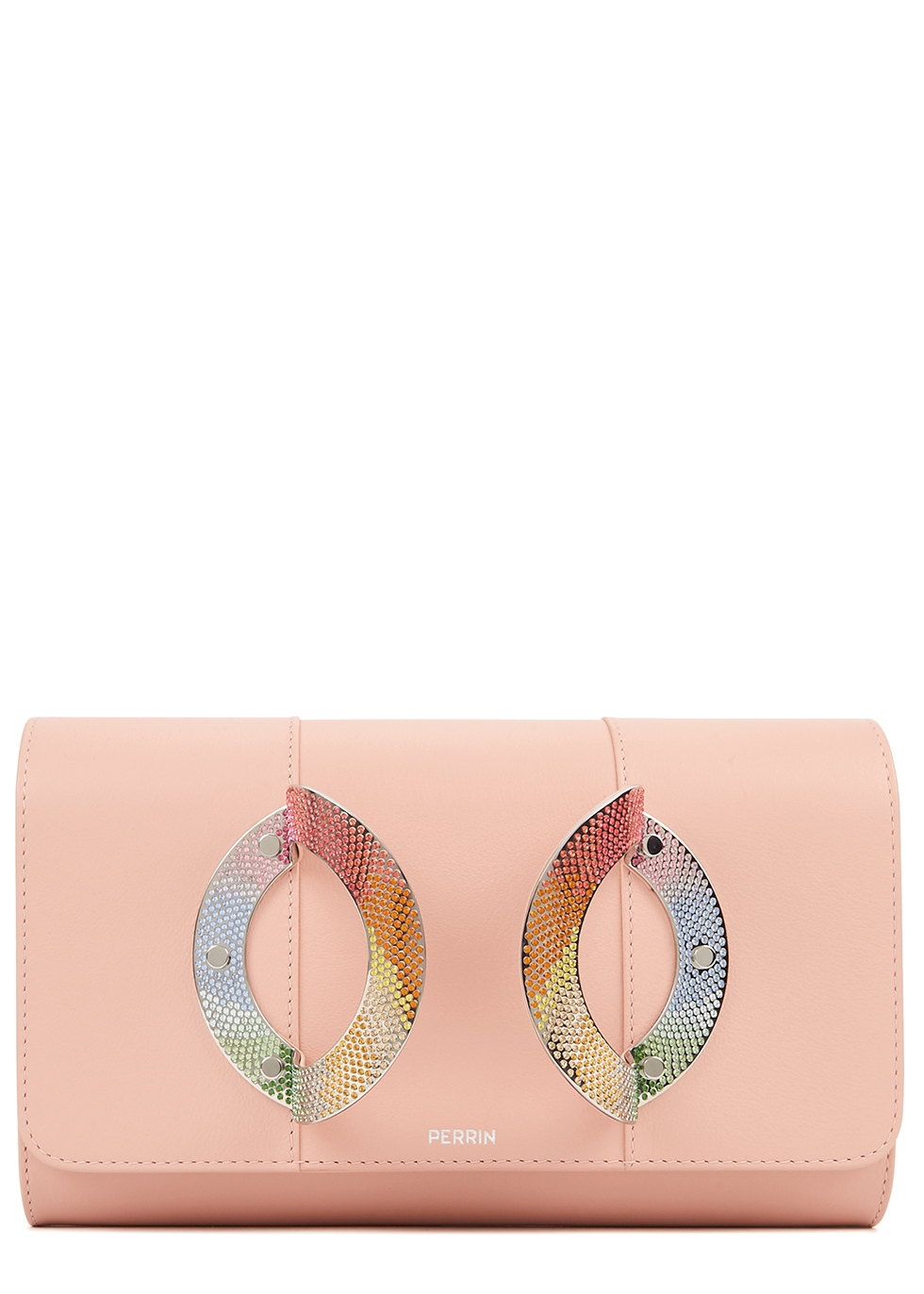 La Croisette light pink leather clutch