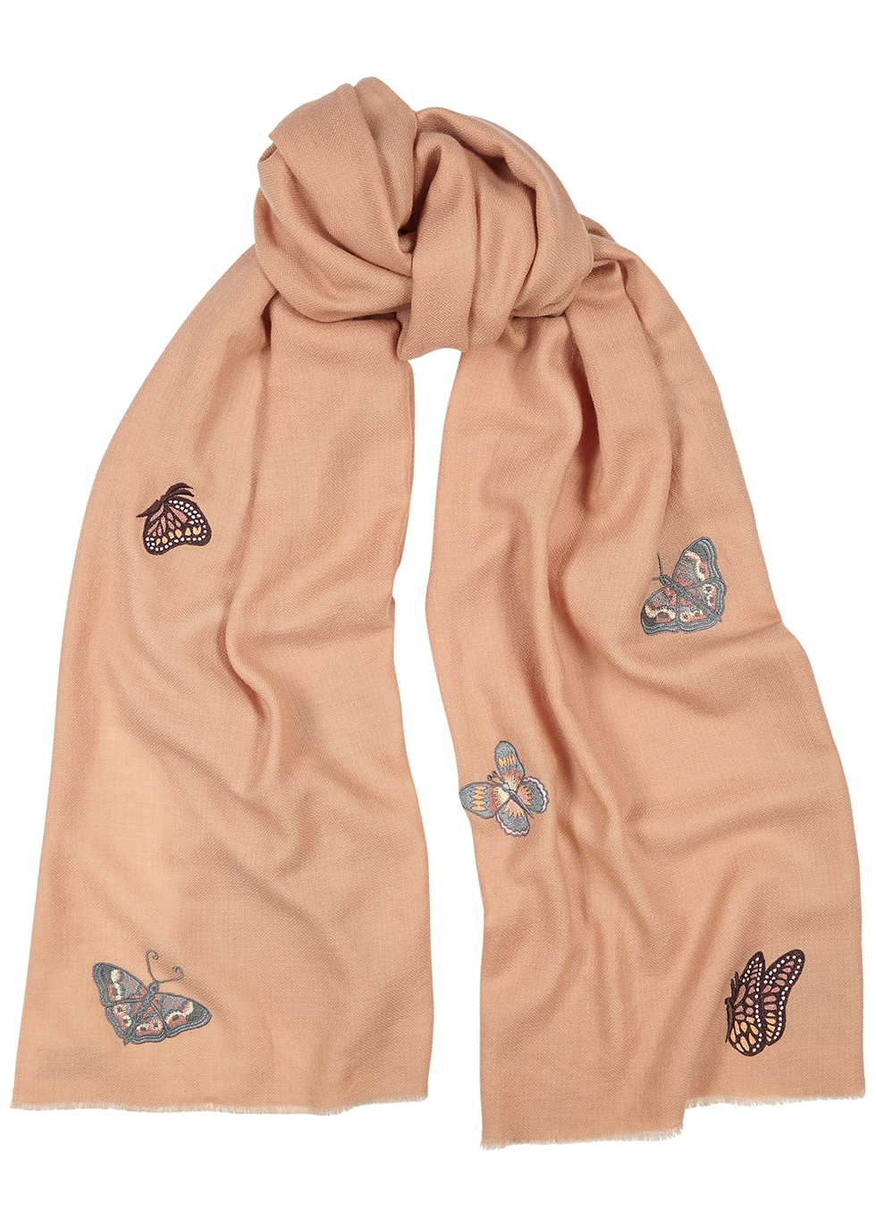 Butterfly-embroidered wool scarf