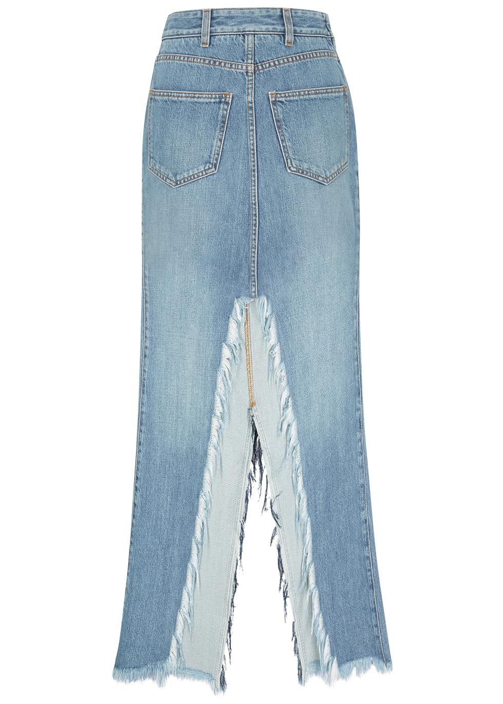 Blue denim maxi skirt
