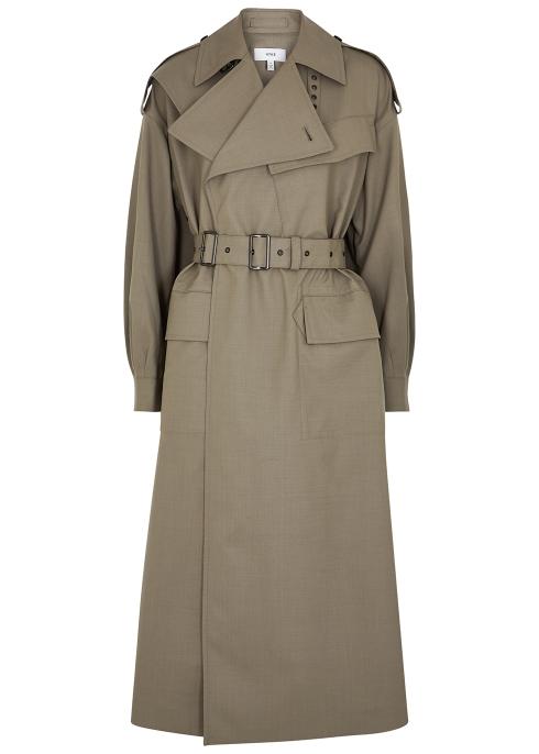 Hyke Coats Grey wool-blend trench coat