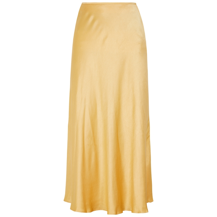 Samsã¸e Samsã¸e Alsop Yellow Satin Midi Skirt In Gold
