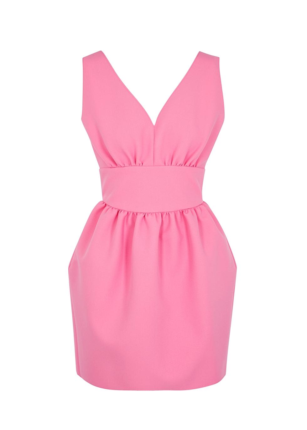 Pink stretch-cady mini dress