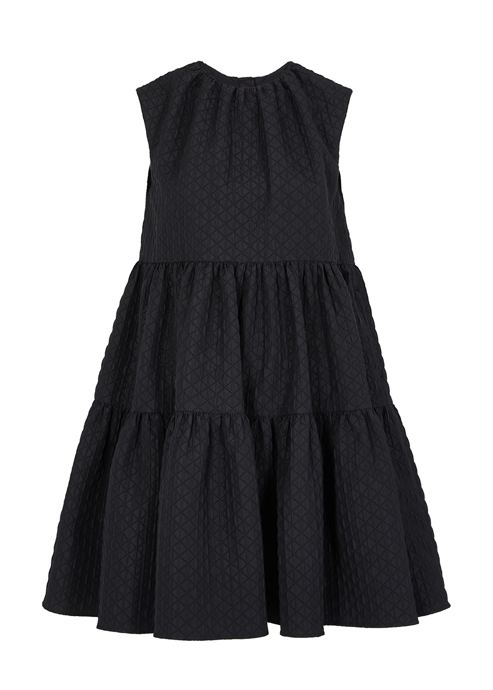 Black jacquard mini dress