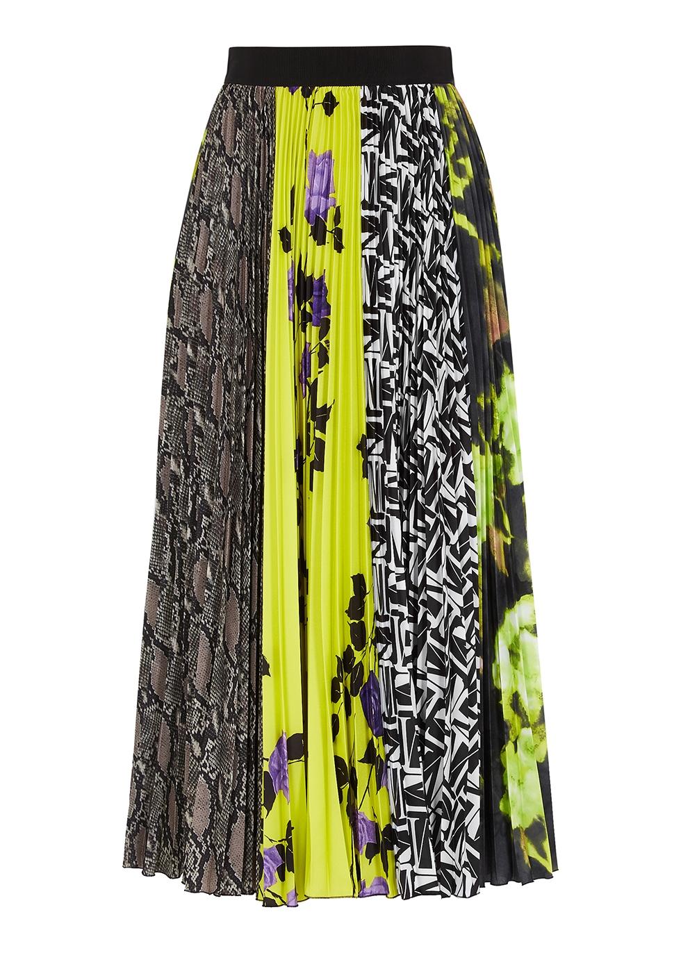 Contrast-print pleated midi skirt