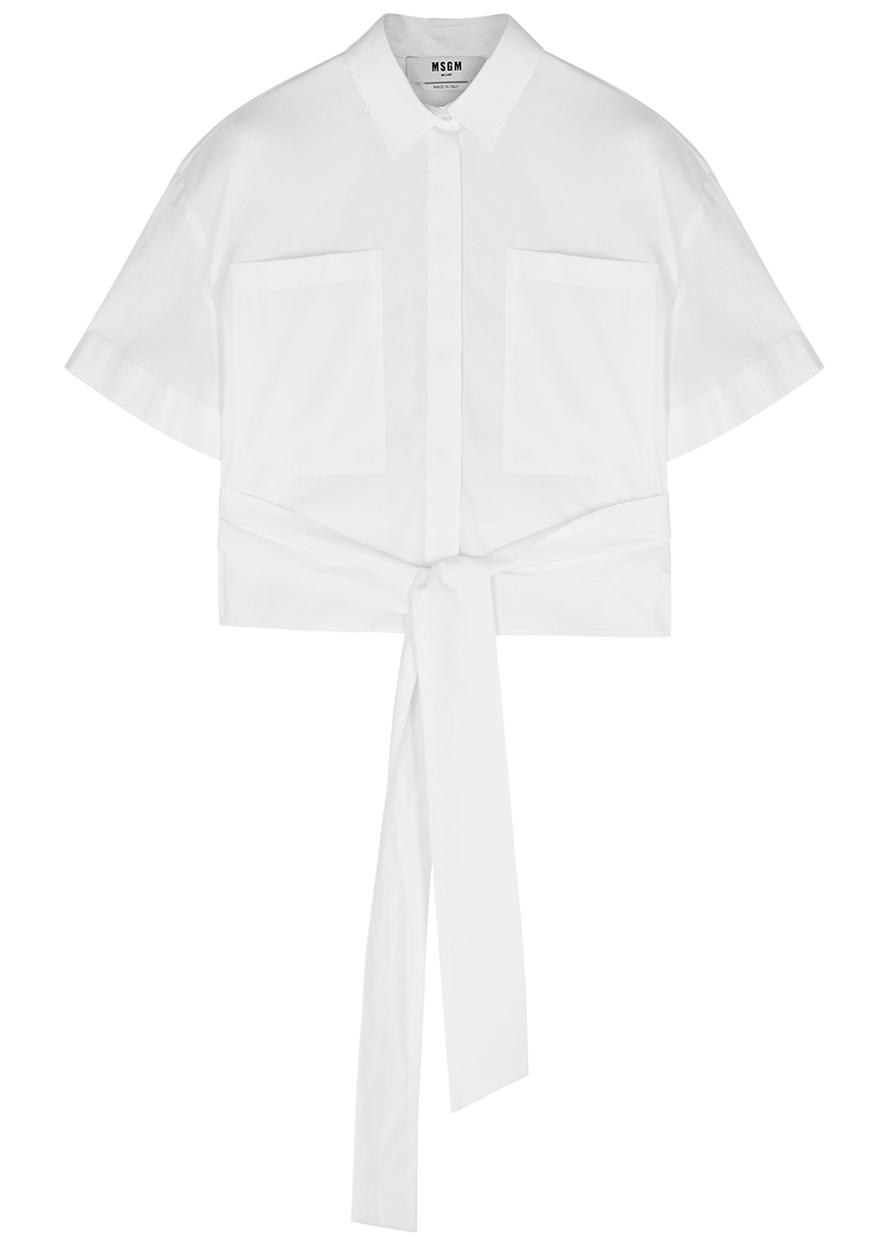 White tie-front cotton shirt