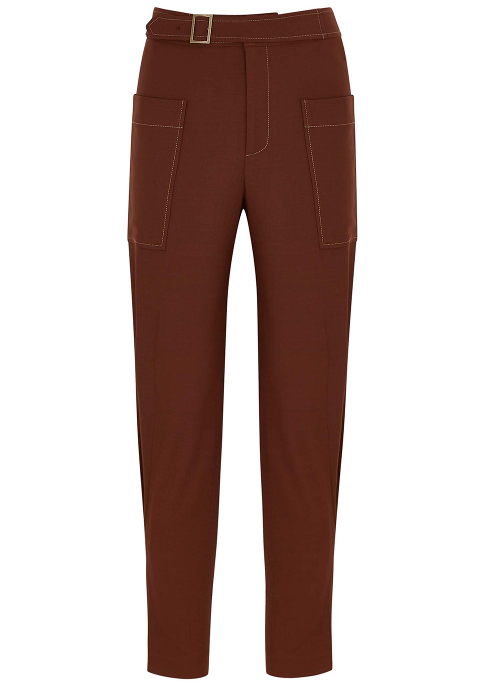 Maxine brown tapered twill trousers