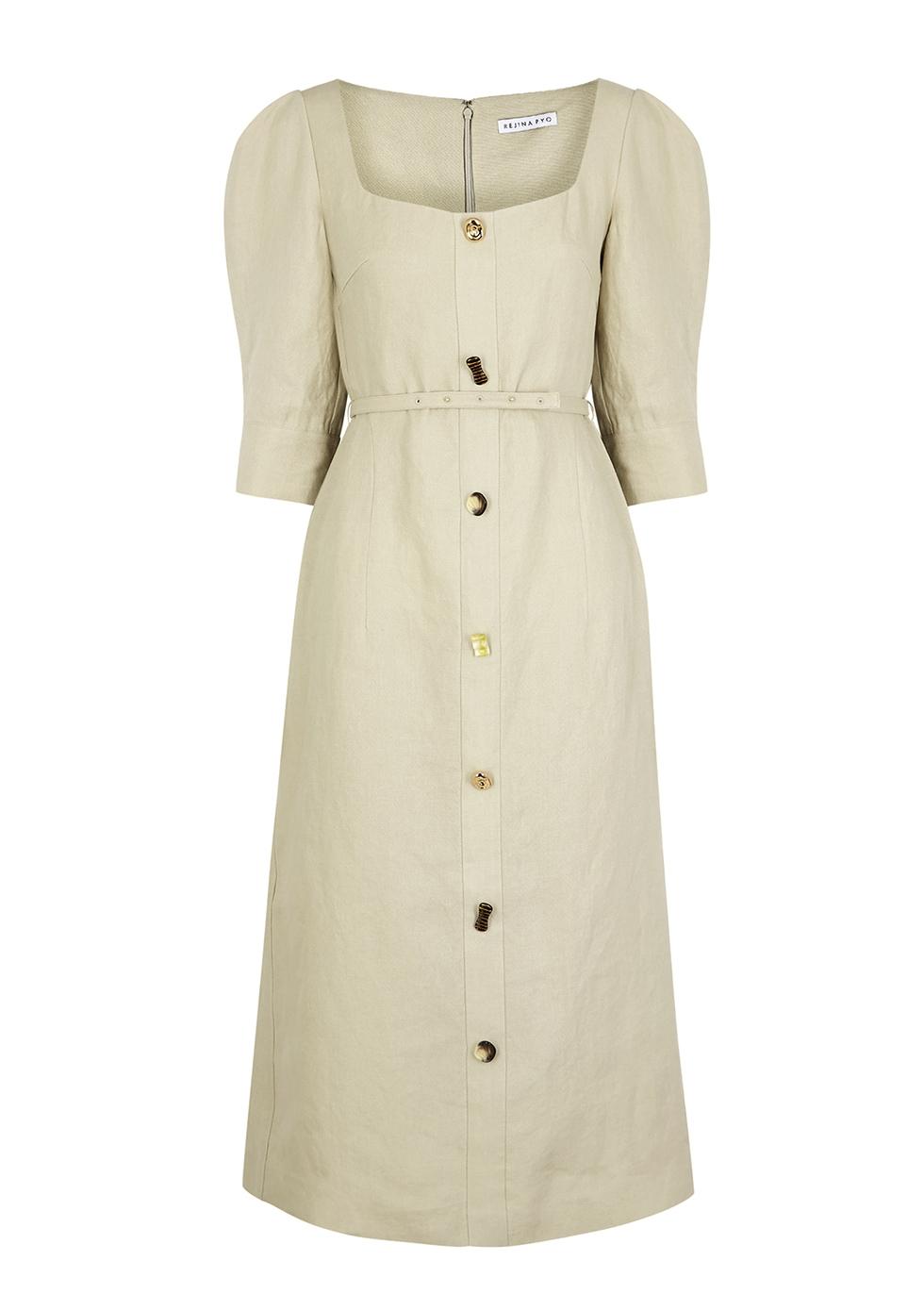 Leonie stone linen midi dress