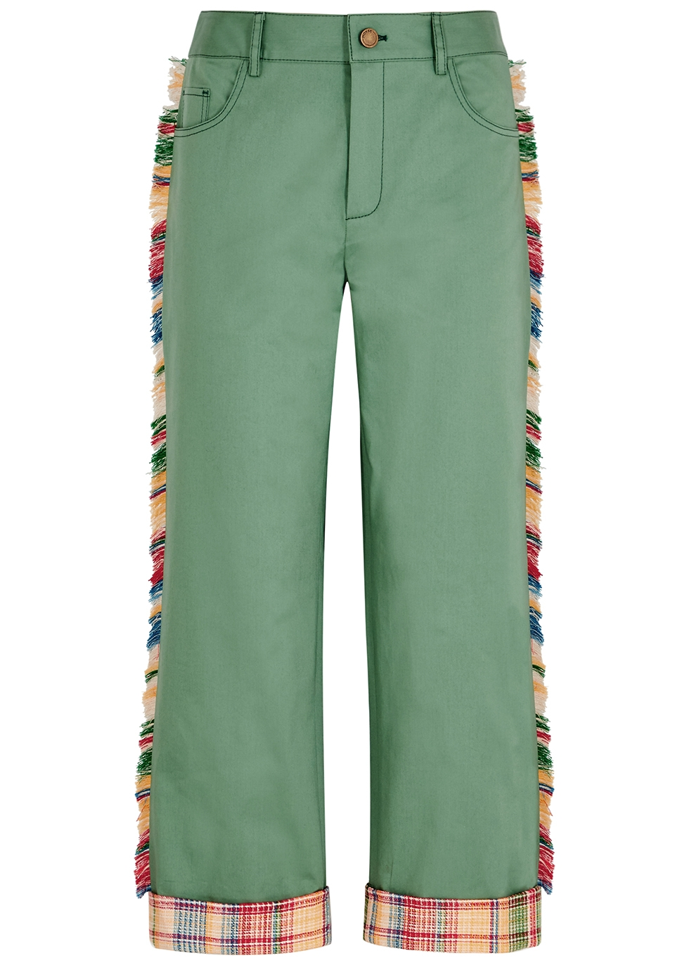Green fringe-trimmed cotton-blend trousers