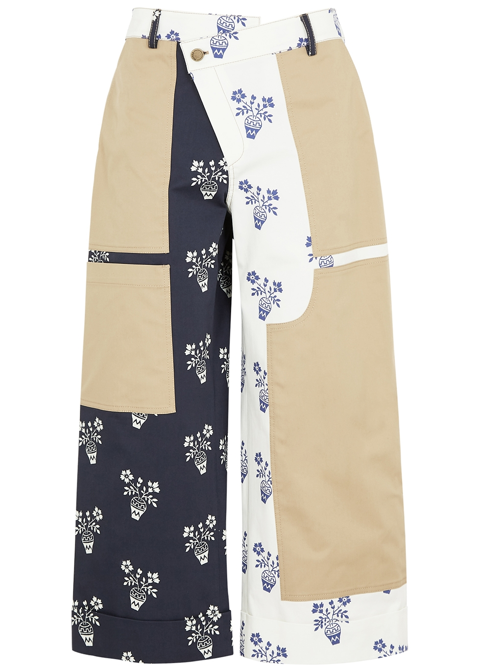 Printed wide-leg stretch-cotton trousers