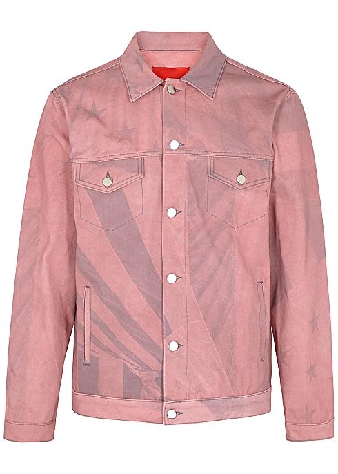 424 Pink printed denim jacket