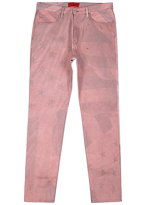 424 Pink printed straight-leg jeans