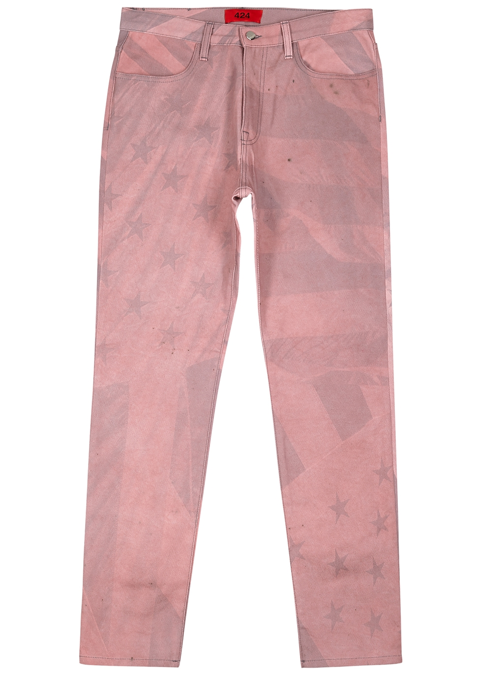 Pink printed straight-leg jeans