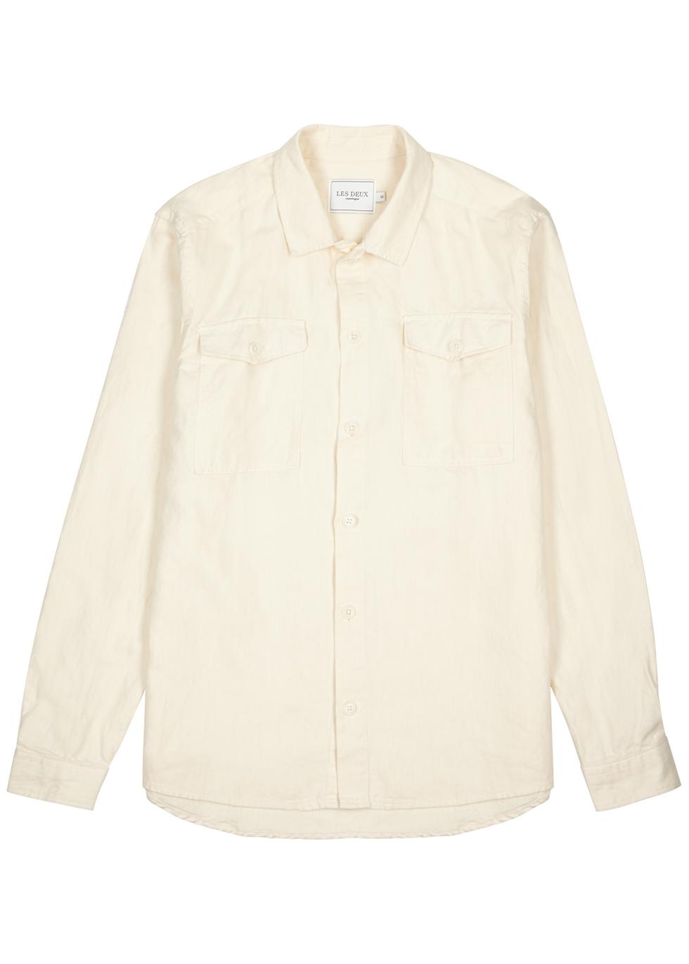 Liam ecru cotton-twill shirt