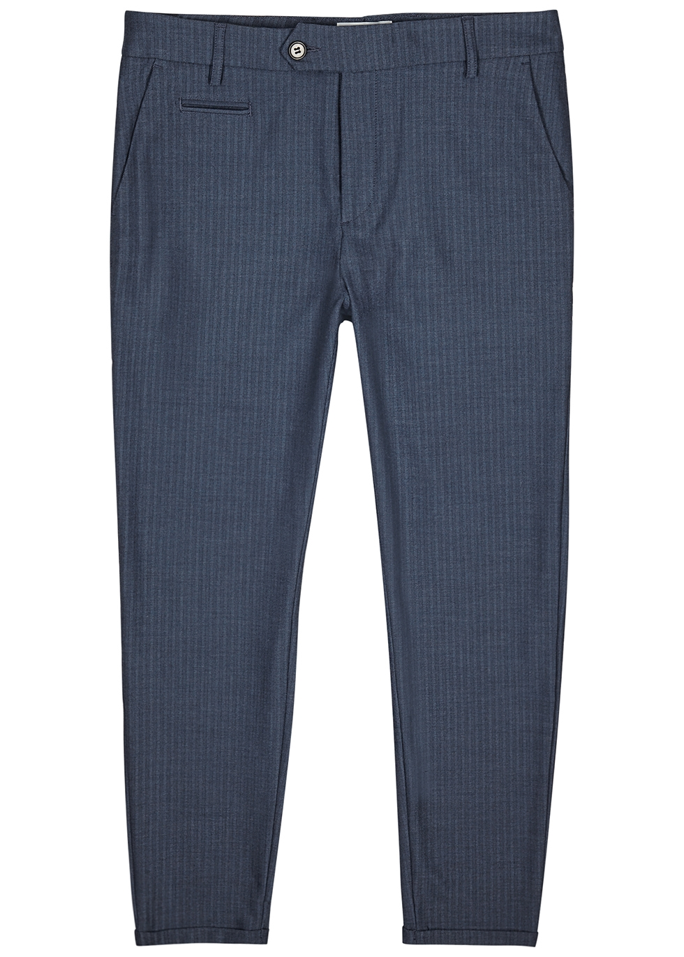 Navy slim-fit trousers