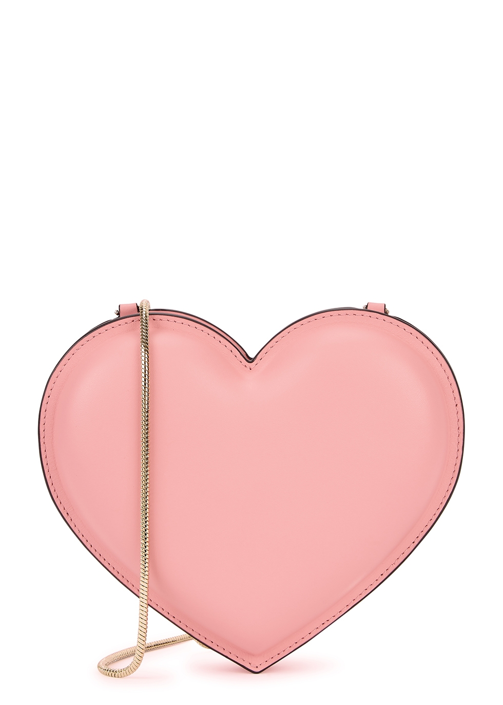 Rococo pink heart leather cross-body bag