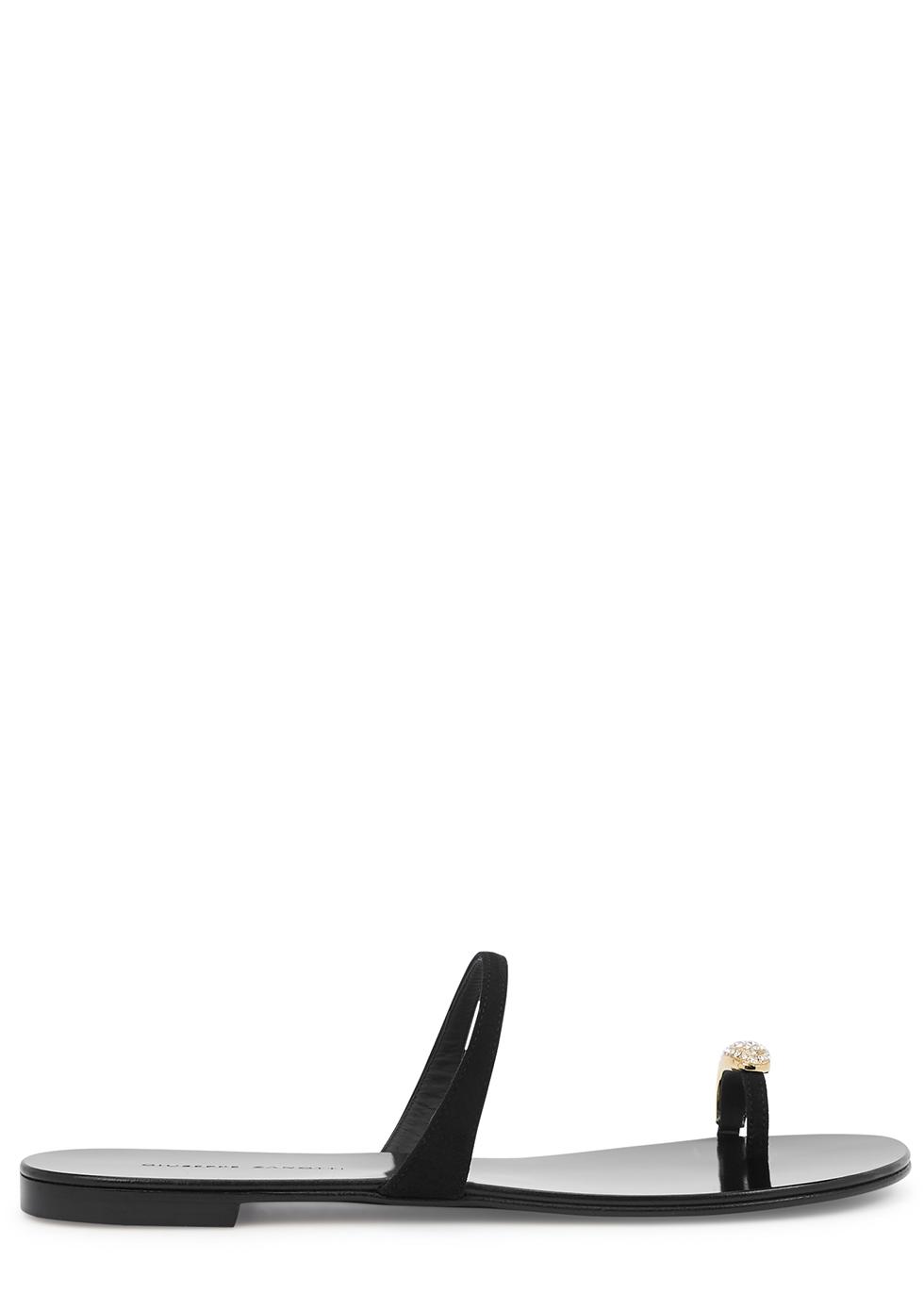 Kanda black leather sandals