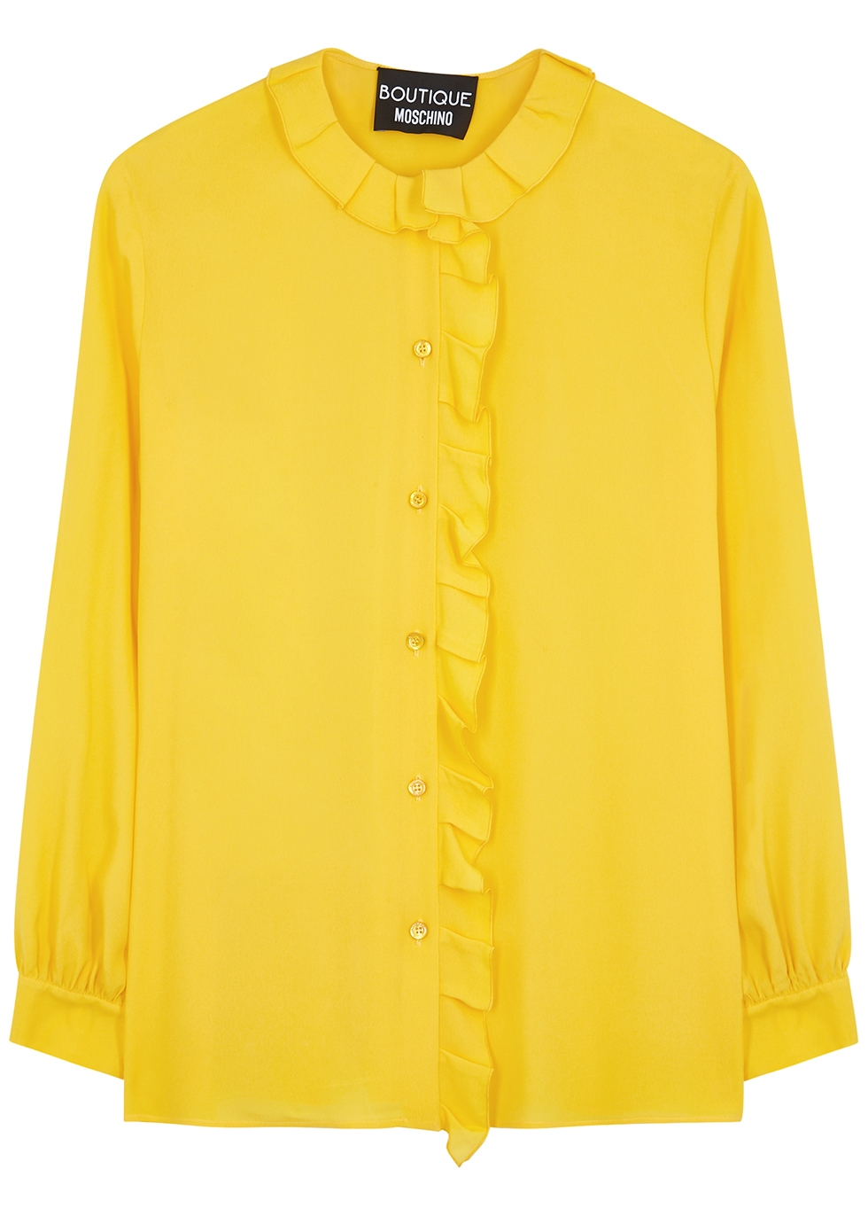 Yellow ruffle-trimmed blouse