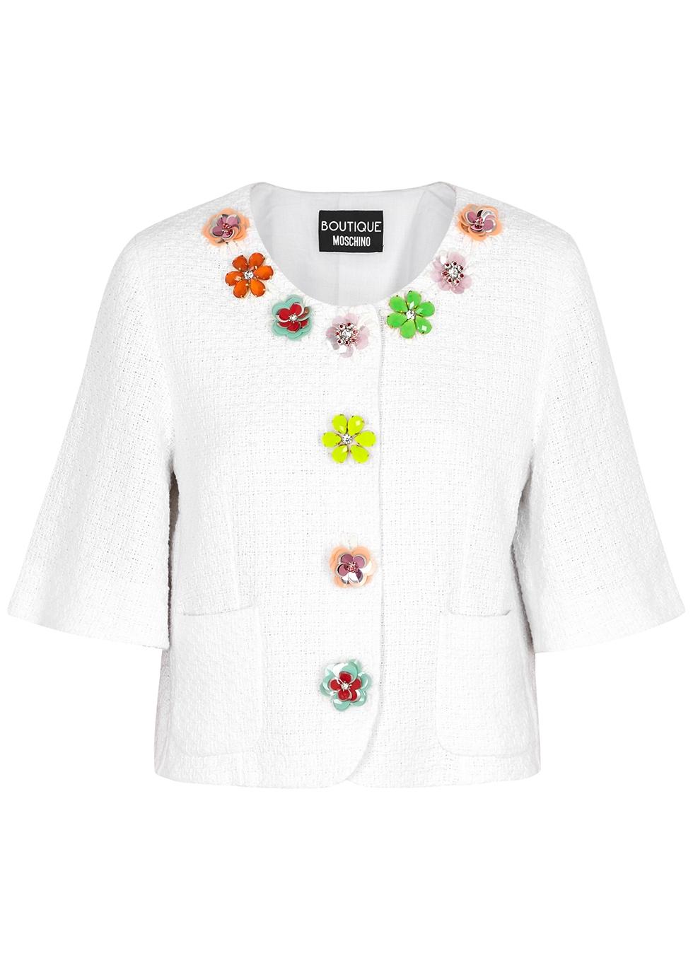 White embellished tweed jacket