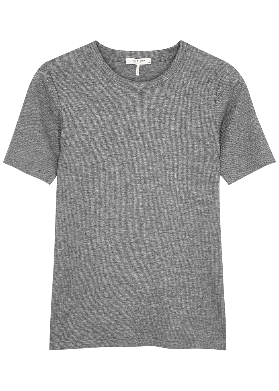 Grey ribbed cotton-blend T-shirt