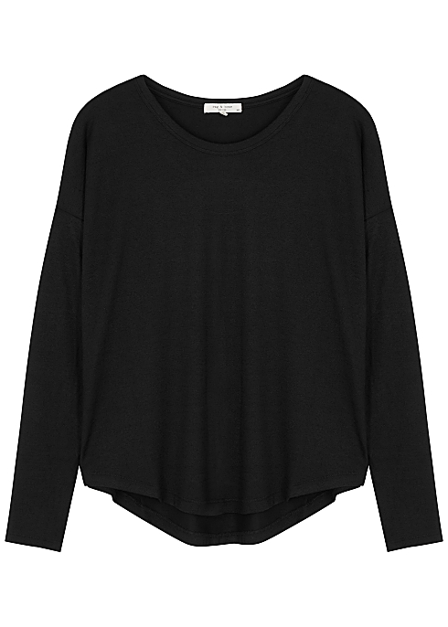 Black stretch-jersey top
