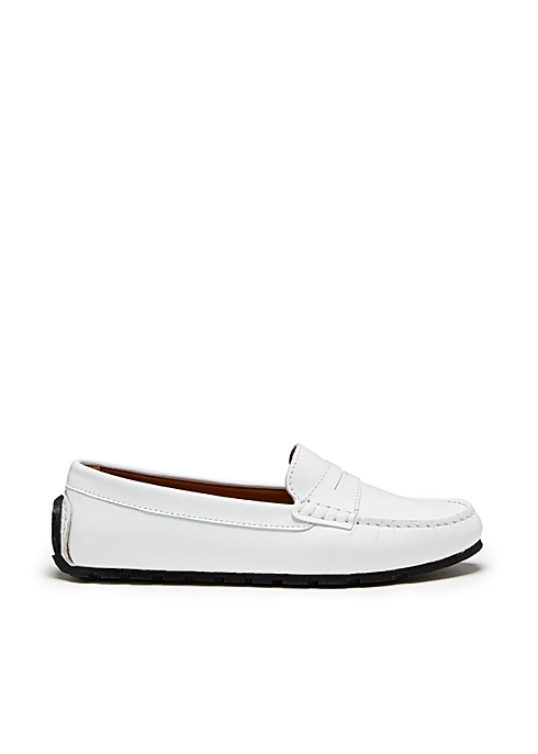 Womens tyre sole penny loafers white leather - Hugs & Co