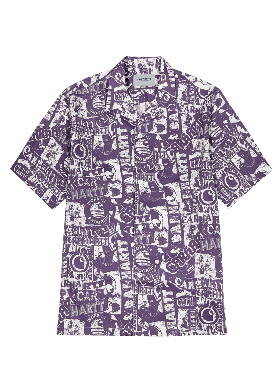 Collage printed cotton-blend shirt