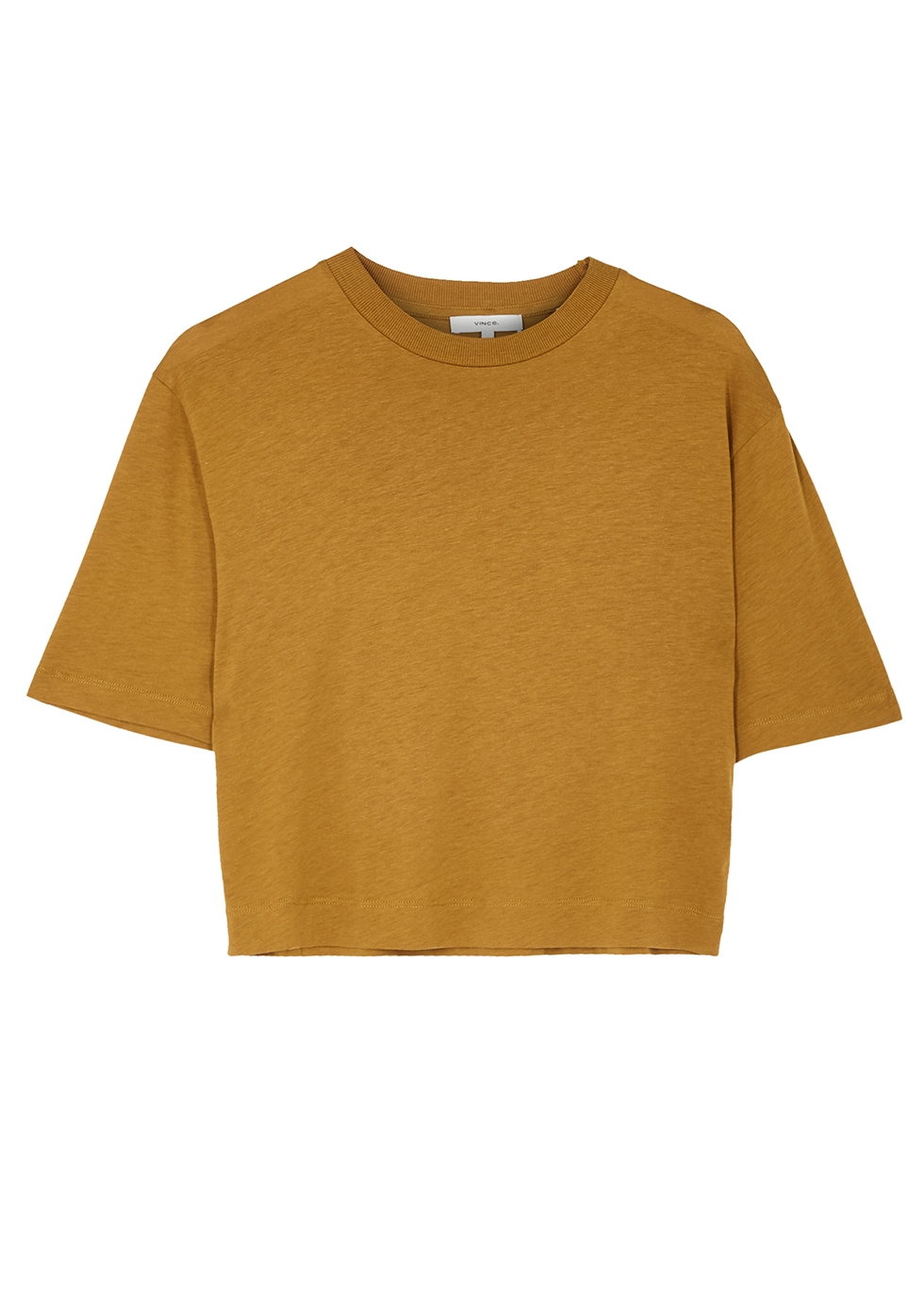 Brown cropped jersey T-shirt
