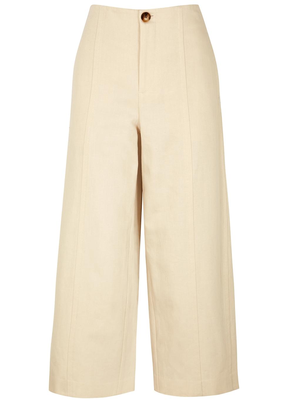 Ecru wide-leg cotton-blend trousers