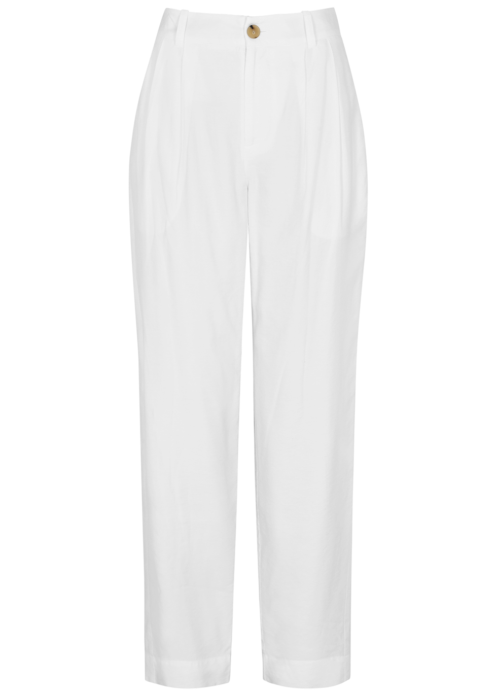 White tapered-leg twill trousers