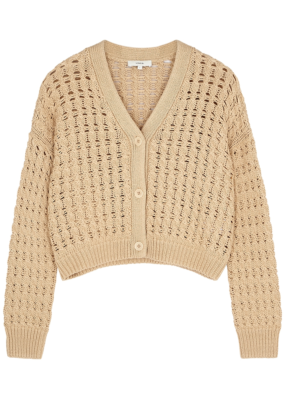 Light brown cropped open-knit cardigan