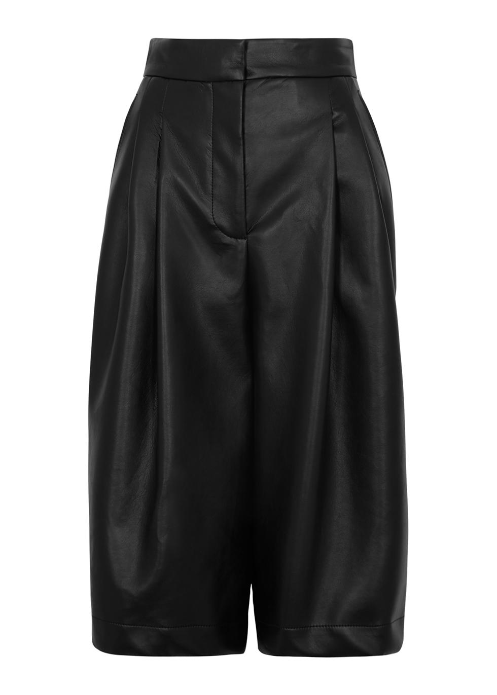 Black faux-leather shorts