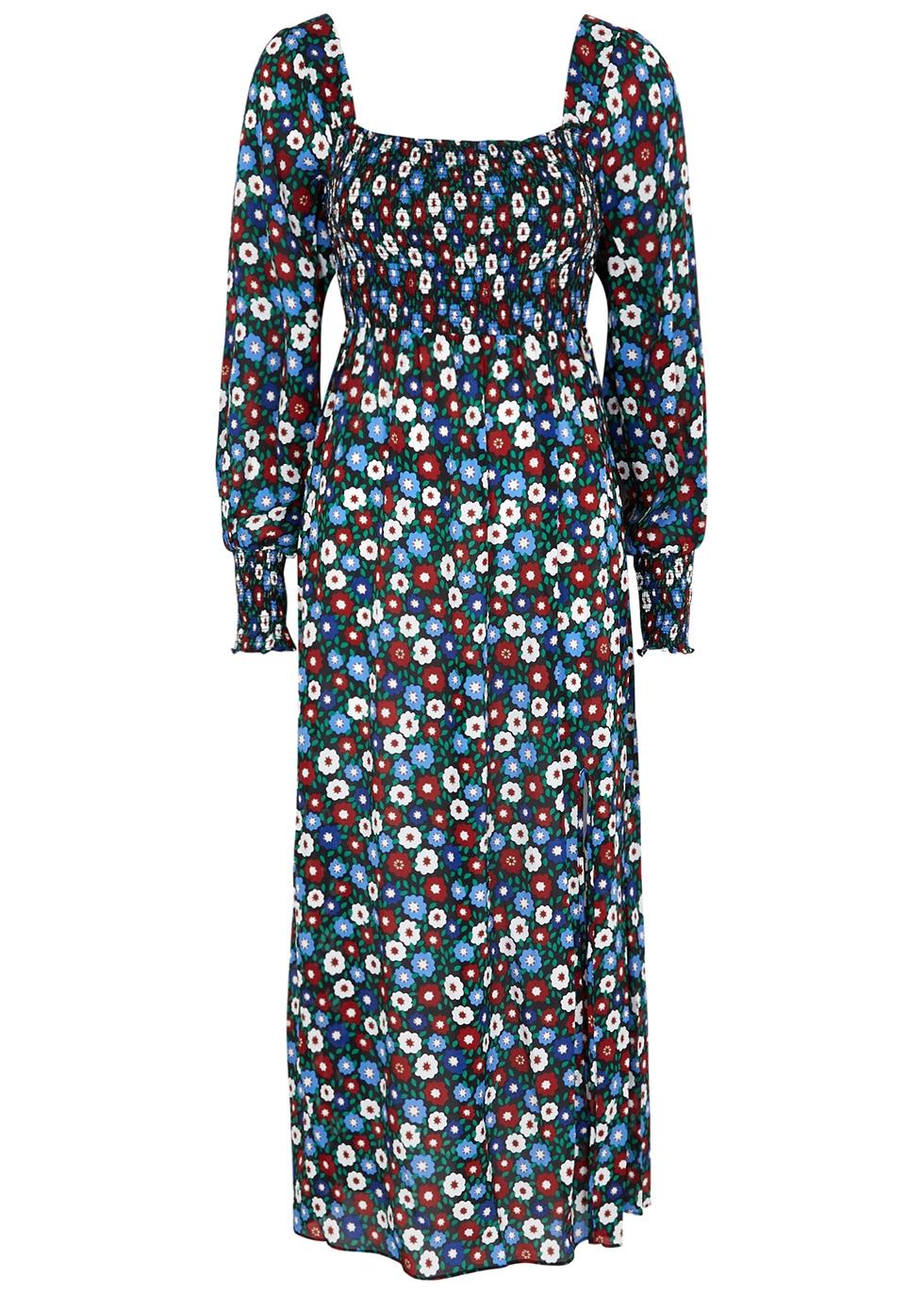 Marie floral-print chiffon midi dress