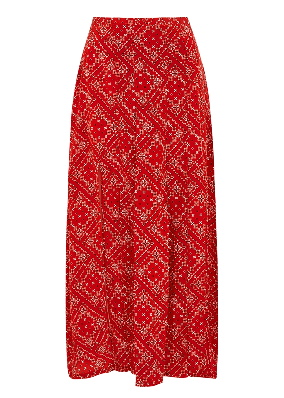 Georgia printed silk crepe de chine midi skirt